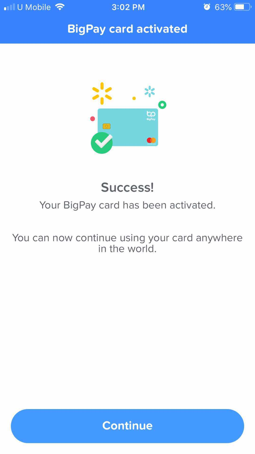 bigpay card activated paywave