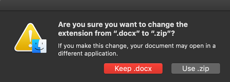 are you sure you want to change the extension